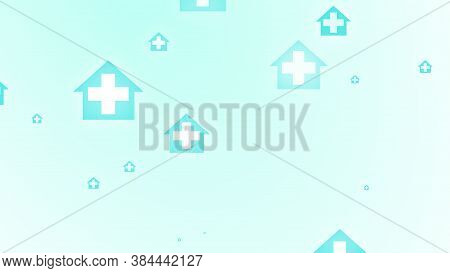 Medical Health Blue Green Cross On Home Pattern Background. Abstract Banners With Prevent Virus Infe