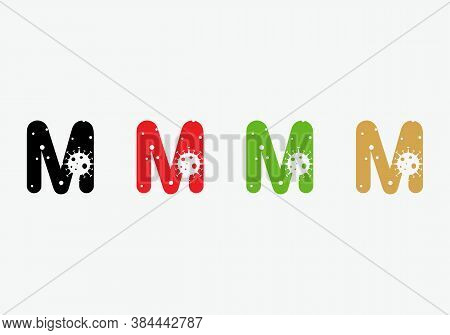 Initial Corona Logo. Corona Logo On M Letter. M Letter Logo With  Corona Concept