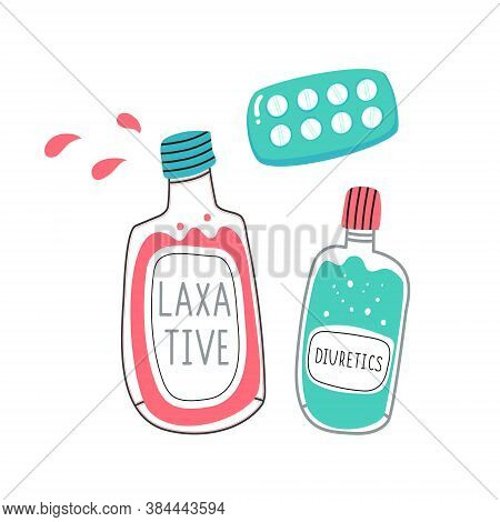 Bottles Of Pharmacy Medicines. Illustrations Of Laxative Medications For Constipation. Vector Illust