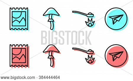 Set Line Heroin In A Spoon, Lsd Acid Mark, Psilocybin Mushroom And Messenger Icon. Vector