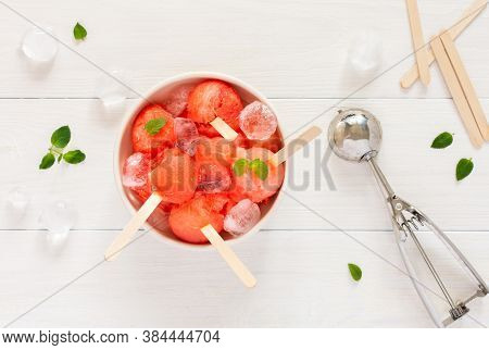 Chilled Juicy Ripe Sweet Watermelon On A Stick, Natural Watermelon Sorbet Or Granita With Ice, Summe