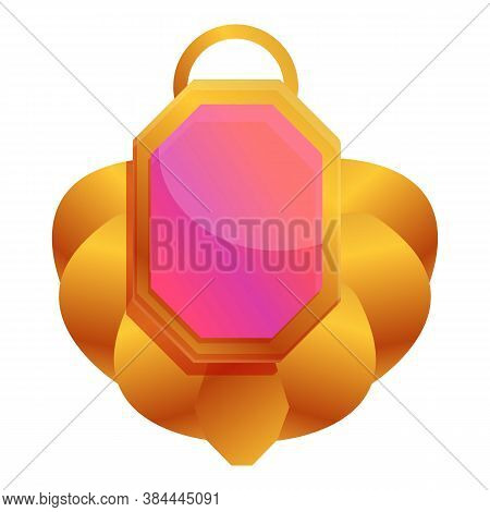 Ruby Amulet Icon. Cartoon Of Ruby Amulet Vector Icon For Web Design Isolated On White Background