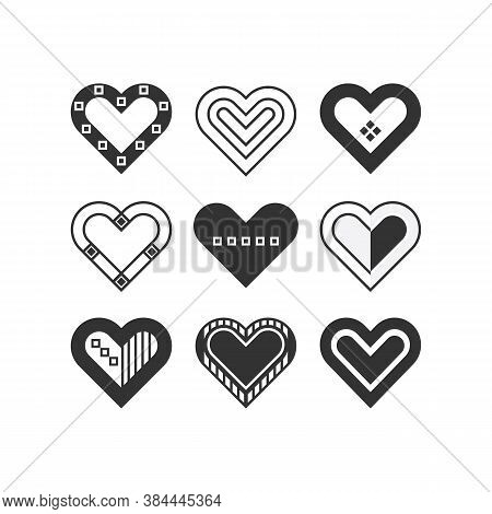 Trendy Black Silhouette Cute Assorted Isolated Childlike Hearts Icons Set Frame
