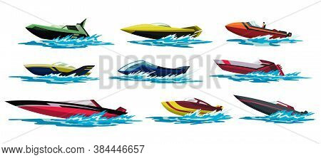Speed Motorboats. Sea Or River Vehicles. Nautical Collection Of Summer Transportation. Motorized Wat