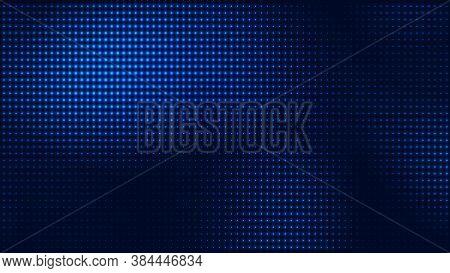 Dot Blue Pattern Screen Led Light Gradient Texture Background. Abstract  Technology Big Data Digital