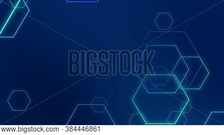 Hexagon Geometric Blue Neon Lights Technology Hi-tech Dark Background. Abstract Graphic Digital Futu