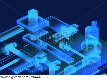 Cyber Blue Isometric Neon City Virtual Reality Background. Abstract Technology Innovation Future Dig