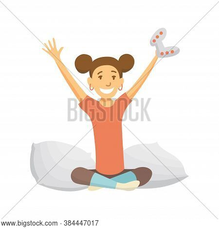Home Leisure. Girl Playing Video Games. Young People Leisure Time. Staying At Home. Woman On Sofa. E