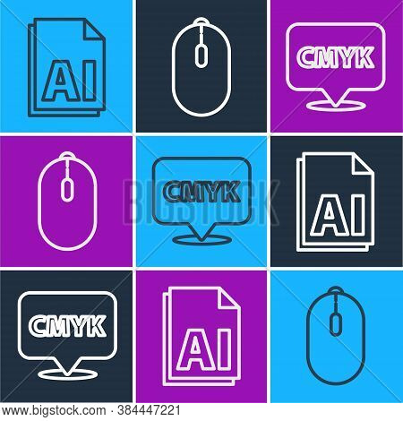 Set Line Ai File Document, Speech Bubble With Text Cmyk And Computer Mouse Icon. Vector