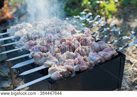 Photo Of Souvlaki On The Chargrill. Meat Strung On Skewers Is Fried In The Camp At Sunset. Smoke Ris