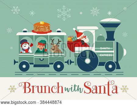 Brunch With Santa Fancy Holiday Vector Flat Poster. Cute Santa Deliver Pancakes In Retro Train Carto
