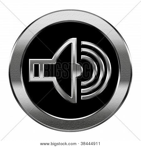 Speaker Icon Silver, Isolated On White Background.