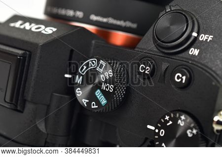 Delhi, India - September 7, 2020: Close Up Of Sony A7iii Camera Dial