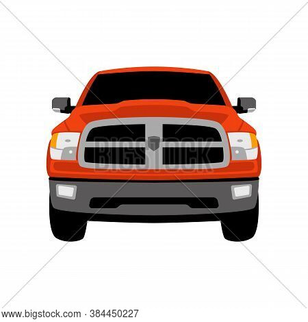 Red Off Road Crossover Front View, Flat Style, Vector