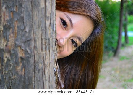 Hiding behind the tree