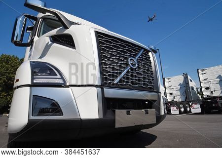 Moscow, Russia - June 24, 2020: A New White Volvo Truck Near The Car Dealership.