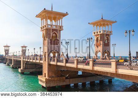 Alexandria, Egypt - December 14, 2018: People Walk The Stanley Bridge, Popular Landmark Of Alexandri