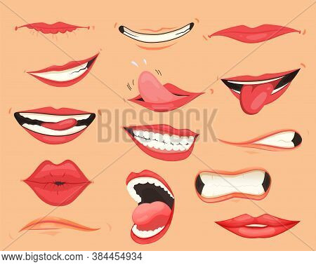 Mouth Expressions. Lips With A Variety Of Emotions, Facial Expressions. Female Lips In Cartoon Style