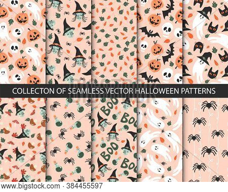 Collection Of 10 Seamless Halloween Patterns In Childish Doodle Style. Retro Colors, Funny Autumn Te