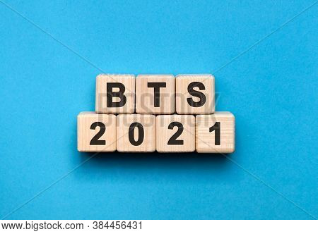 Bts - Text Concept On Wooden Cubes With Gradient Blue Background