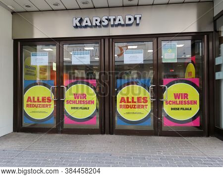 Karstadt Shopping Mall Closing Signs Saying In German All Reduced Prices And We Are Closing This Bra