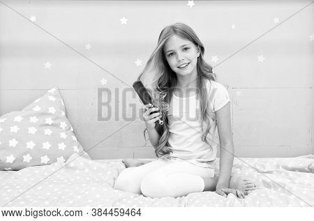 Relaxing Hair Brushing. Happy Child Hold Hair Brush. Brushing Before And After Bed. Haircare And Sty