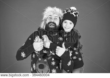 Merry Christmas. Family Celebrate Holiday. Family Tradition. Winter Holidays. Father Daughter Winter