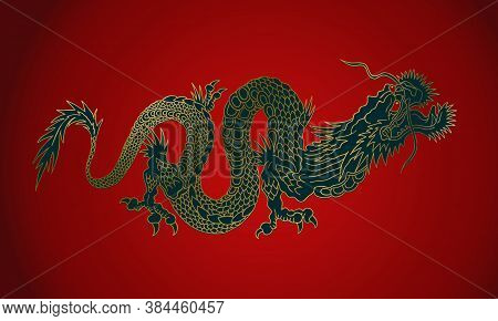 Vector Illustration Of A Chinese Gold Dragon. Golden Asian Dragon On Red Background.
