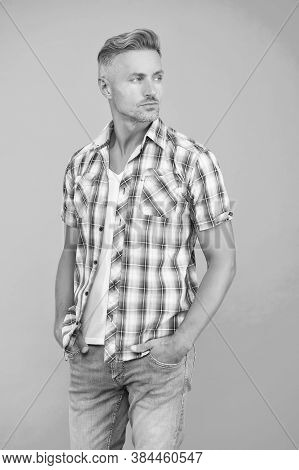 No Man Is Born Stylish. Middle Aged Man. Handsome Man Blue Background. Unshaven Man In Casual Style.