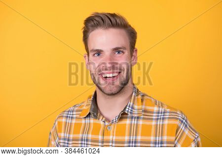 Dental Care You Trust. Happy Guy Smile Yellow Background. Handsome Guy With Healthy Smile. Oral Hygi