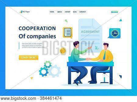 Merger Of Companies, Businessmen Sign An Agreement. Flat 2d. Vector Illustration Landing Page.