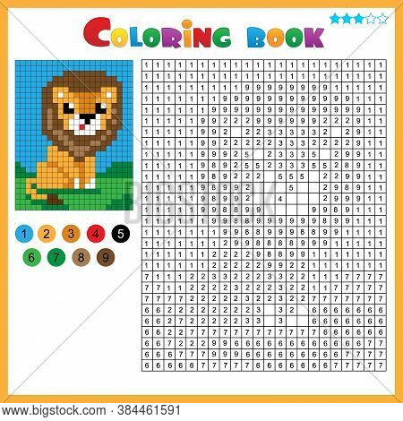 Lion. Color By Numbers. Coloring Book For Kids. Colorful Puzzle Game For Children With Answer.