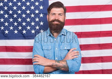 Man Well Groomed Hipster Stylish Appearance American Flag Background, Modern People Concept.