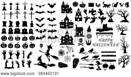 Collection Of Halloween, Icons, Black. Set Of Silhouettes Of Halloween On A White Background For Cel