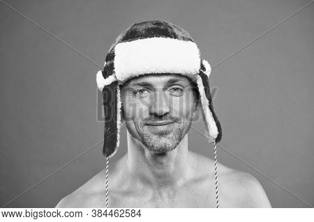 Winter Care. Mature Man Bare Torso. Attractive Body. Winter Season. Skin Care. Handsome Man Celebrat