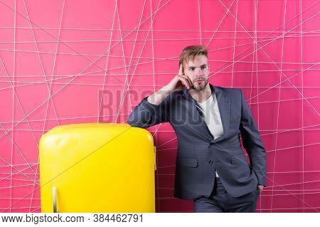 Bachelor Elegant Guy Think What Eat Near Fridge. Bright Fridge Household Appliances Interior Object.