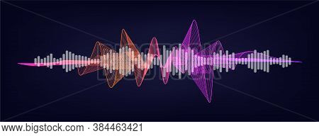 Volume Sound Wave With Equalazer. Vector Sound Wave Or Voice Assistant Ui, Ux, Kit, Gui. Microphone