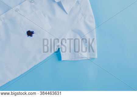 Ink Stain On Shirt Pocket.daily Life Dirty Stain For Wash And Clean Concept
