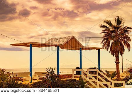 Coastal Landscape In Spanish Resort Village. Carchuna Beach. Costa Tropical, Province Granada. Andal
