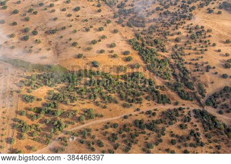Hot air balloon view of the Alentejo region, above the fields. Portugal.