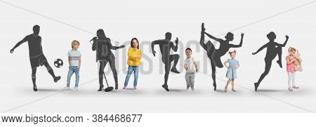 Childhood Dreams. Little Kids Against Silhouettes Of Soccer Player, Singer, Runners And Ballet Dance