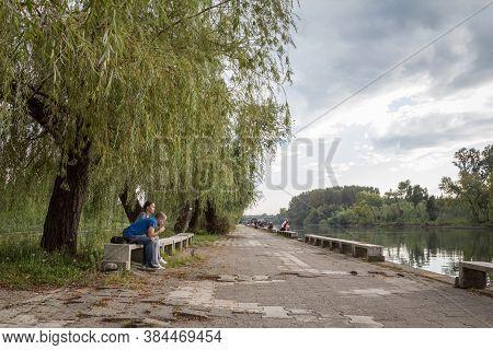Pancevo, Serbia - September 17, 2016: Tamis Quay, Also Called Tamiski Key In Pancevo, With Two Serbi