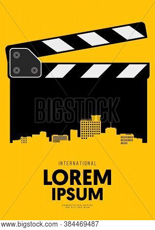 Movie And Film Poster Design Template Background With Clapperboard And City Skyline. Design Element