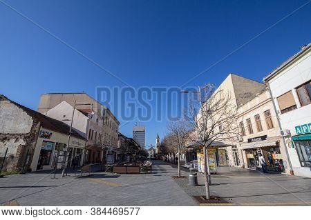 Zrenjanin, Serbia - November 23, 2019: Kralja Aleksandra I Karadjordjevica Street, The Main Pedestri