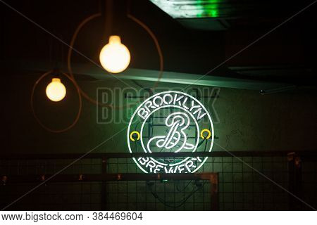 Belgrade, Serbia - January 11, 2020: Brooklyn Brewery Logo On A Neon Light In Font Of One Of Their R