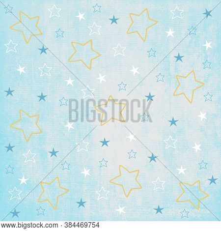 Cyan, White And Yellow Stars On Baby Blue Background, Seamless Pattern For Wallpaper, Wrapping, Scra