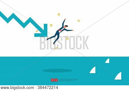 Finance Crisis Concept With Business Man Character. Money Fall Down With Arrow Decrease Symbol. Econ