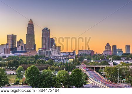 Charlotte, North Carolina, USA uptown skyline at dusk.