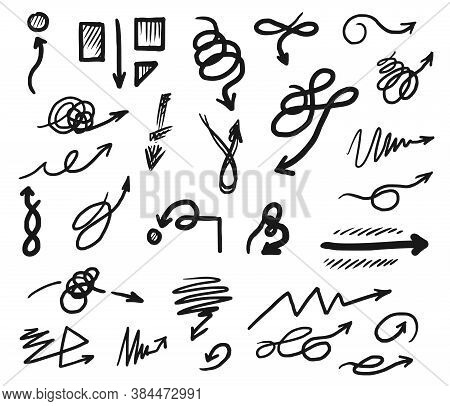 Doodle Arrow. Curved And Tangled Doodle Arrow Icon Set. Vector Infographic Element. Hand Drawn Strai