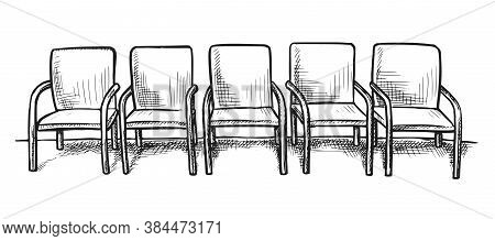 Waiting Room Sketch. Hand Drawn Empty Chair Seat Row On White Background. Business Office Or Hospita